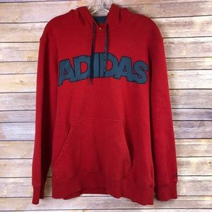 Adidas Red Spell Out Hoodie - Large